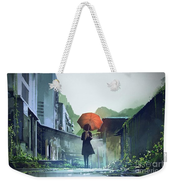 Weekender Tote Bag featuring the painting Alone In The Abandoned Town by Tithi Luadthong