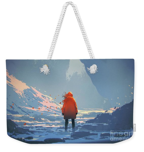 Weekender Tote Bag featuring the painting Alone In Winter by Tithi Luadthong