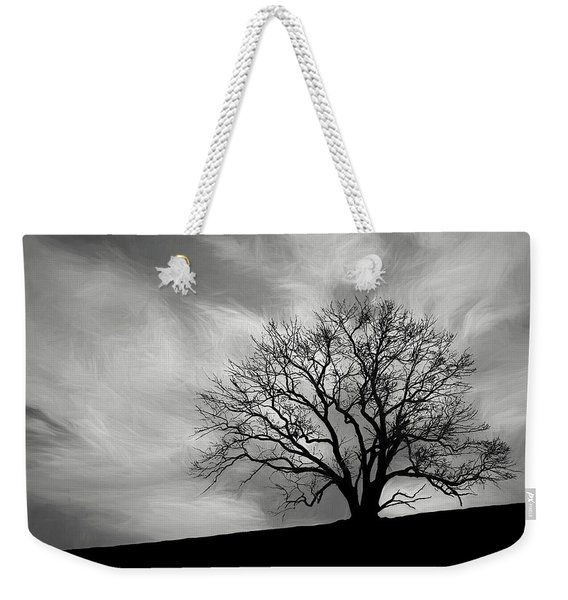 Alone On A Hill In Black And White Weekender Tote Bag