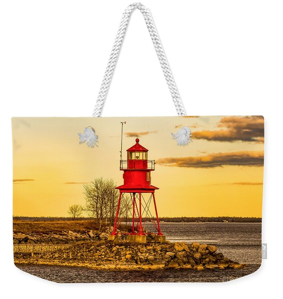 Alpena Harbor Lighthouse  At Sunset Weekender Tote Bag