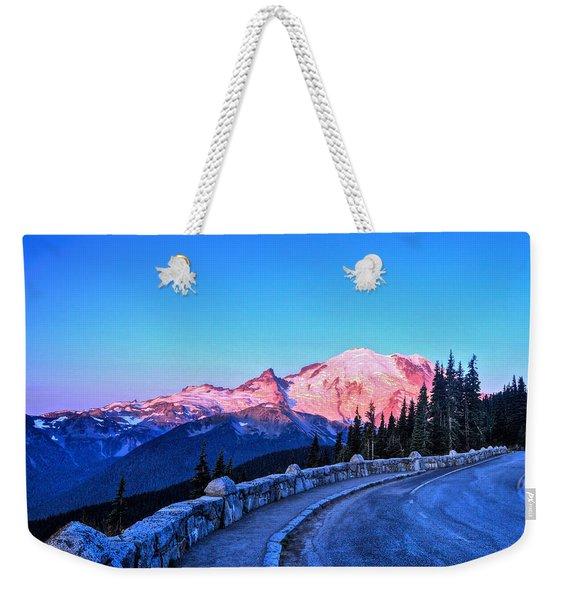 Alpenglow At Mt. Rainier Weekender Tote Bag