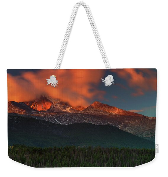 Weekender Tote Bag featuring the photograph Alpenglow Sunrise by John De Bord