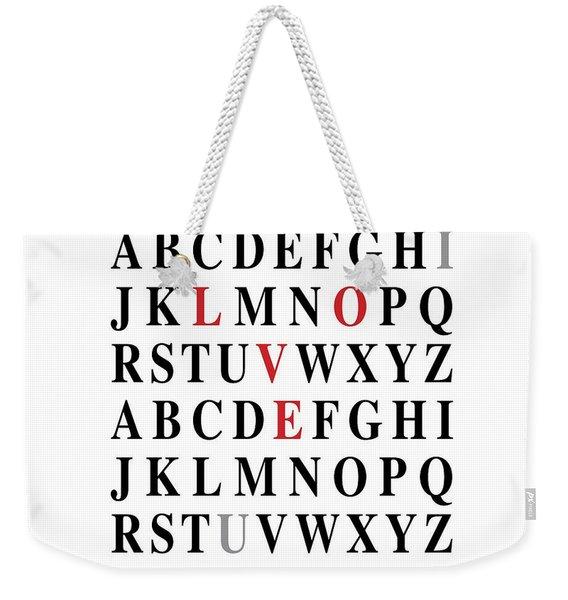 Alphabet I Love U Weekender Tote Bag