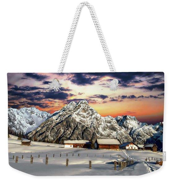 Alpine Winter Scene Weekender Tote Bag