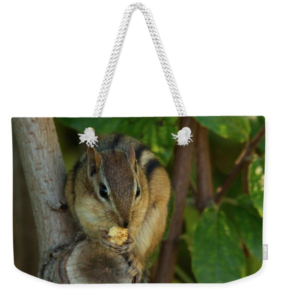 Weekender Tote Bag featuring the photograph Alvin Eating 1 by Brian Hale
