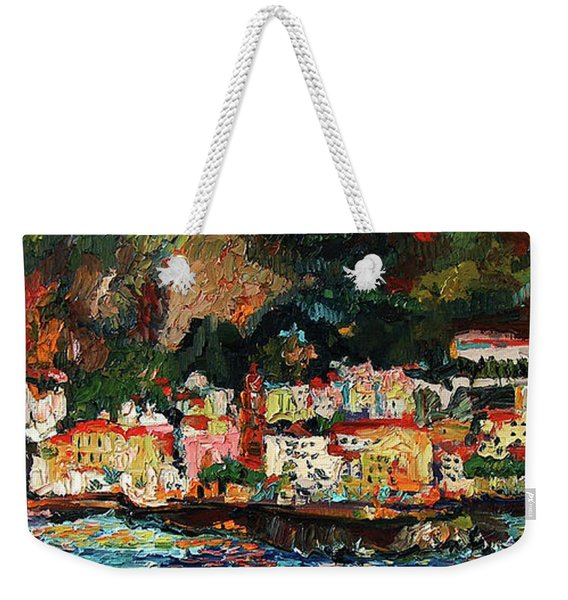 Amalfi Italy Panorama Impressionist Oil Painting Weekender Tote Bag