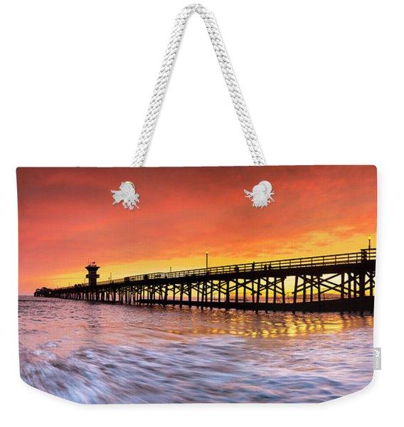 Amber Seal Beach Pier Weekender Tote Bag