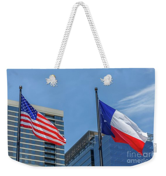 American And Texas Flag On Top Of The Pole Weekender Tote Bag