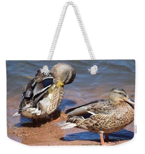 Weekender Tote Bag featuring the digital art American Black Duck by Margarethe Binkley