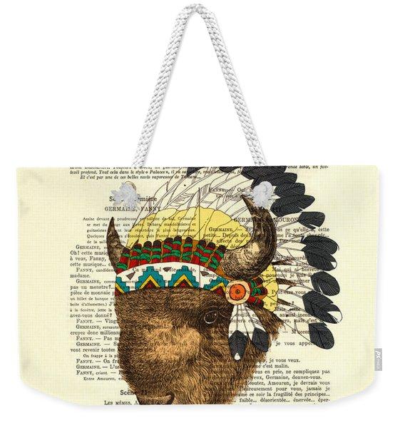 American Bison - Buffalo With Indian Headdress Weekender Tote Bag