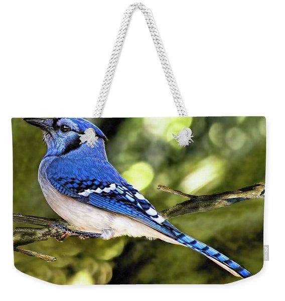 Blue Jay Bokeh Weekender Tote Bag