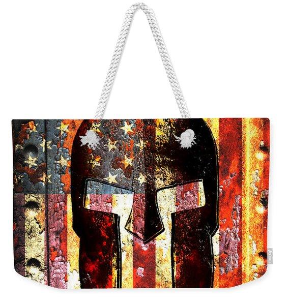 American Flag And Spartan Helmet On Rusted Metal Door - Molon Labe Weekender Tote Bag