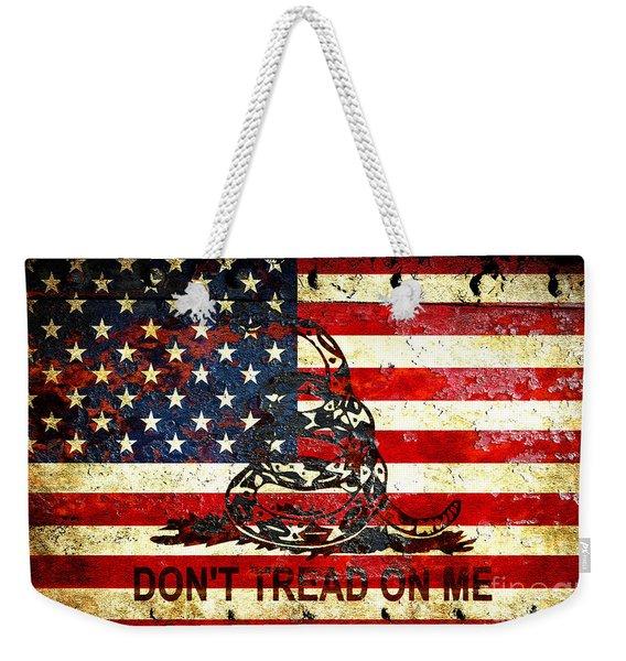 American Flag And Viper On Rusted Metal Door - Don't Tread On Me Weekender Tote Bag