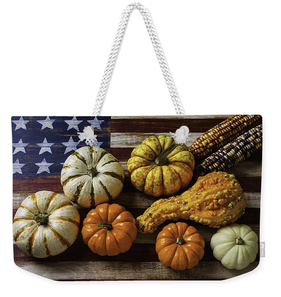 American Flag Autumn Harvest Weekender Tote Bag