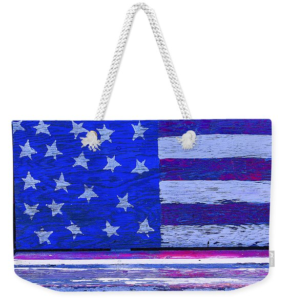 American Flag Bench Weekender Tote Bag
