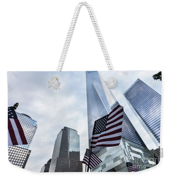 American Flag In Front Of The One World World Trade Center Weekender Tote Bag