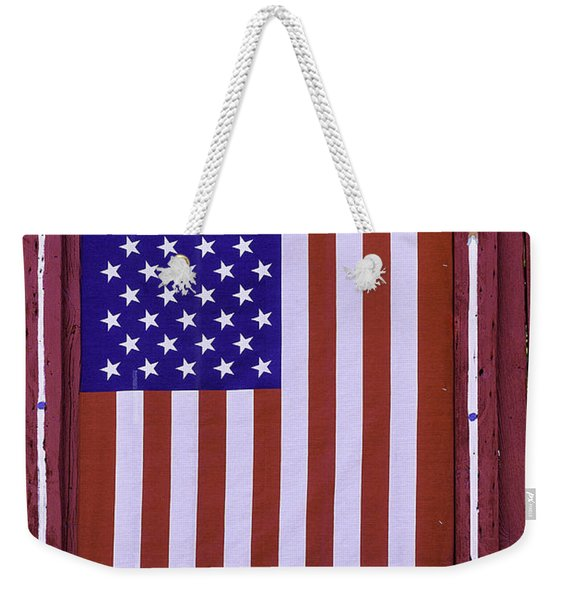 American Flag In Red Window Weekender Tote Bag