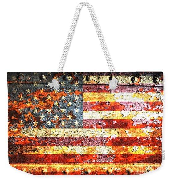 American Flag On Rusted Riveted Metal Door Weekender Tote Bag