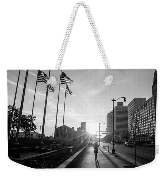 American Flags Detroit Black And White  Weekender Tote Bag