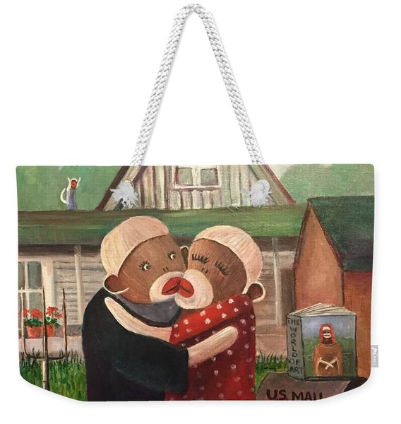 American Gothic The Monkey Lisa And The Holler Weekender Tote Bag