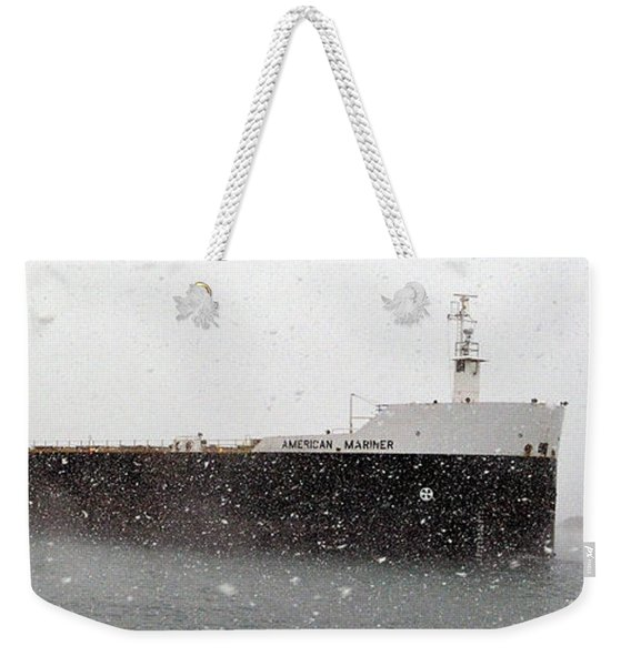 American Mariner In Blizzard Weekender Tote Bag