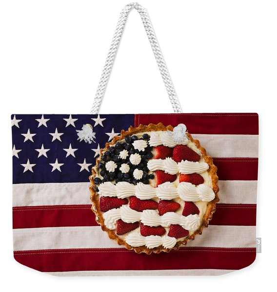 American Pie On American Flag  Weekender Tote Bag