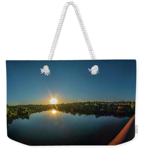 American River At Sunrise - Panorama Weekender Tote Bag