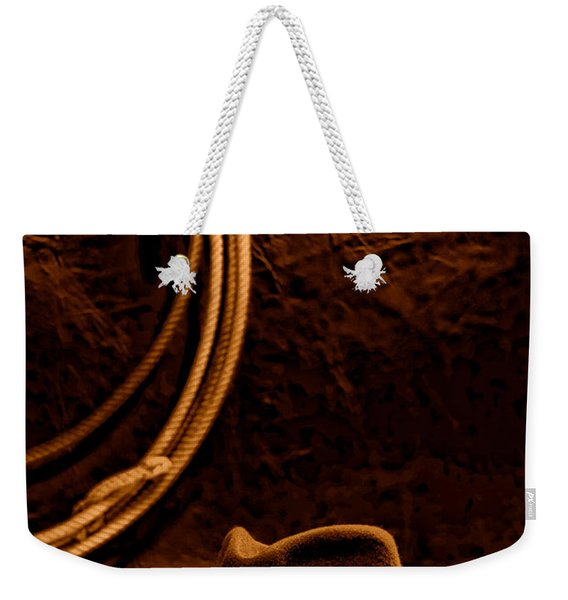 American West Rodeo Cowboy Hat And Lasso - Sepia Weekender Tote Bag