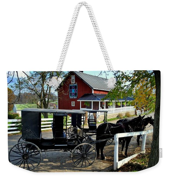 Amish Country Horse And Buggy Weekender Tote Bag