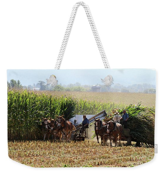 Amish Men Harvesting Corn Weekender Tote Bag