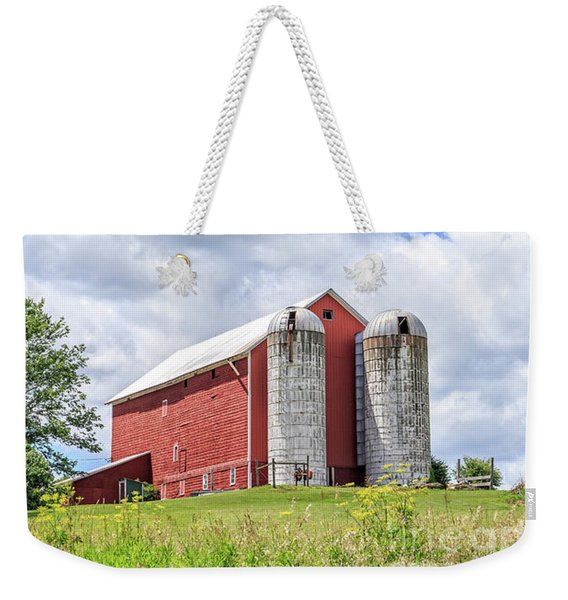 Amish Red Barn And Silos Weekender Tote Bag