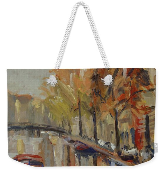 Amsterdam Autumn With Boat Weekender Tote Bag