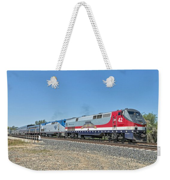 Weekender Tote Bag featuring the photograph Amtrak 42  Veteran's Special by Jim Thompson