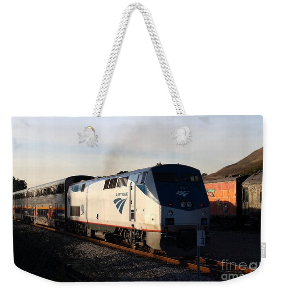 Amtrak Trains At The Niles Canyon Railway In Historic Niles District California . 7d10856 Weekender Tote Bag