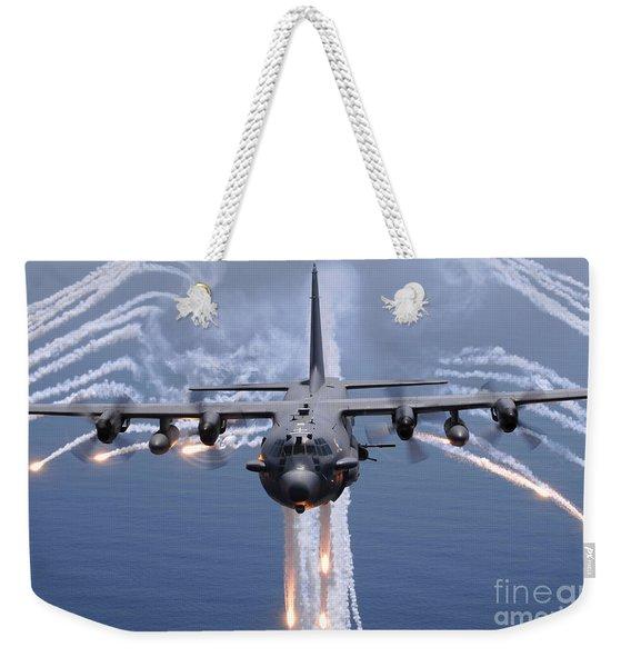 An Ac-130h Gunship Aircraft Jettisons Weekender Tote Bag