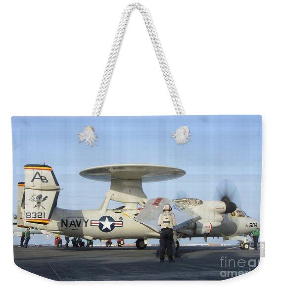 An E-2d Advanced Hawkeye Aboard Uss Weekender Tote Bag