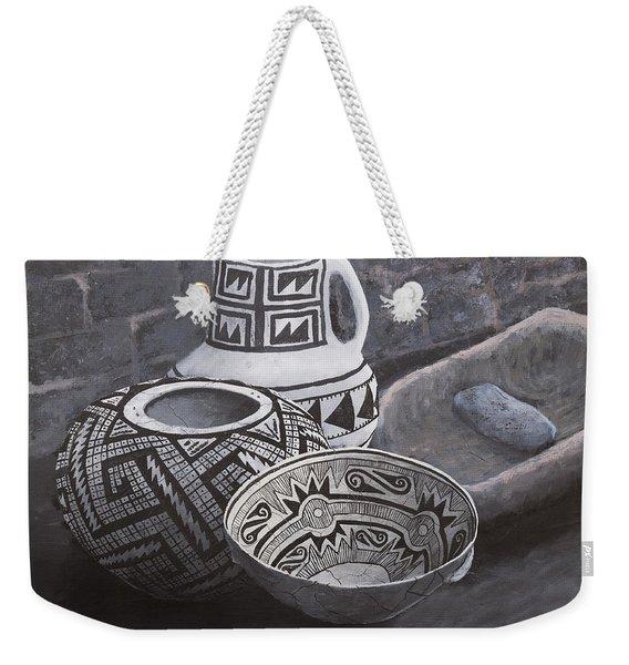 Anasazi Black On White Weekender Tote Bag