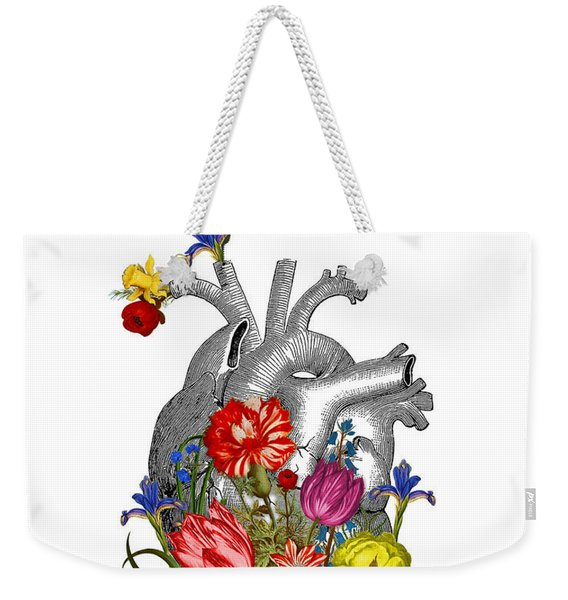 Anatomical Heart With Colorful Flowers Weekender Tote Bag