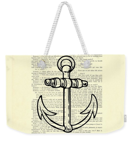 Anchor Black Lines Old School Illustration Weekender Tote Bag