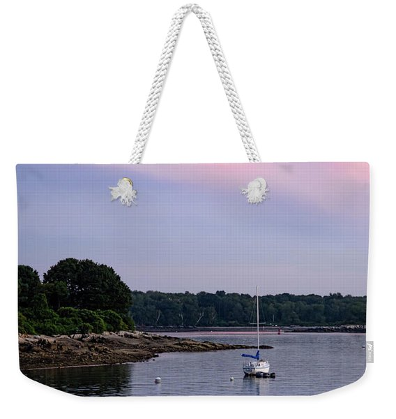 Weekender Tote Bag featuring the photograph Anchored At Peaks Island, Maine  -07828 by John Bald