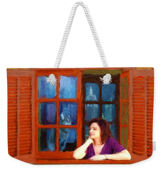 Andrea And The Cat Weekender Tote Bag