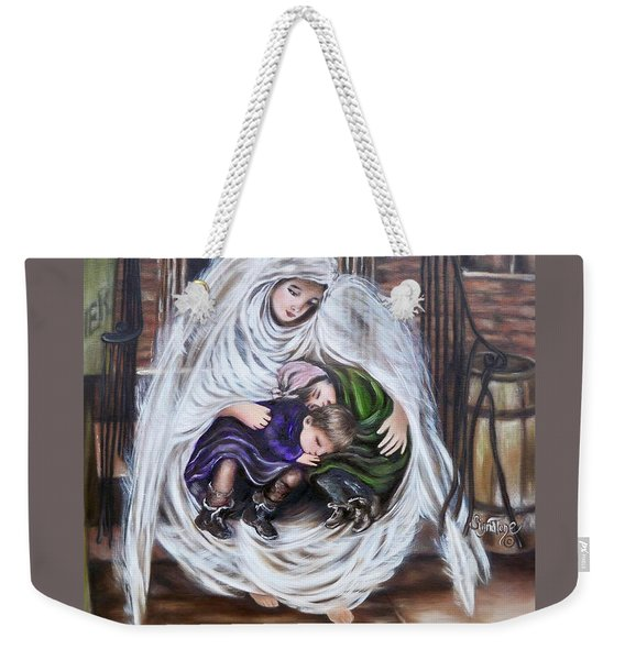 Flying Lamb Productions.        Angel And The Orphans Weekender Tote Bag