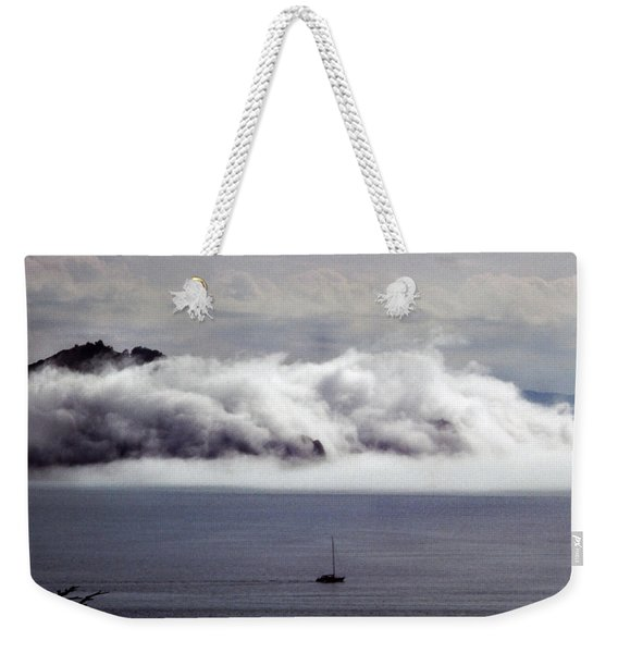Weekender Tote Bag featuring the photograph Angel Island Fog by Frank DiMarco