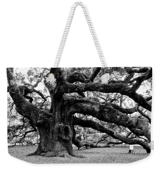 Angel Oak Tree 2009 Black And White Weekender Tote Bag