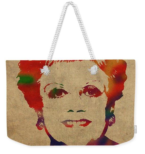 Angela Lansbury Watercolor Portrait Weekender Tote Bag