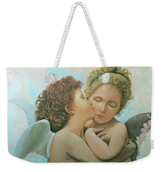 Weekender Tote Bag featuring the painting Bouguereau Angels- My Adaptation by Rosario Piazza