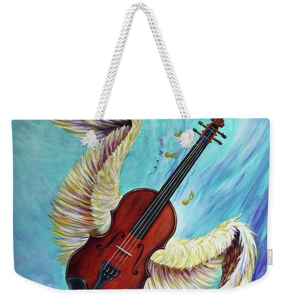 Weekender Tote Bag featuring the painting Angel's Song by Nancy Cupp