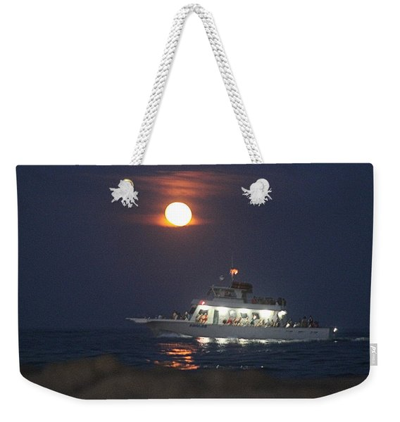 Angler Cruises Under Full Moon Weekender Tote Bag