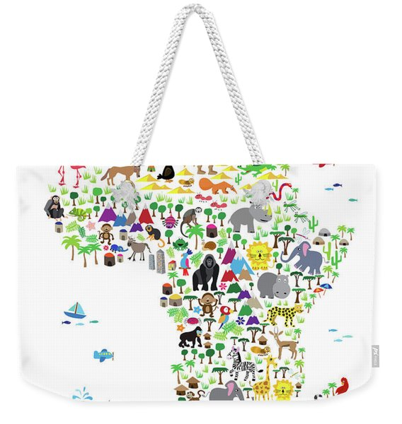 Animal Map Of Africa For Children And Kids Weekender Tote Bag