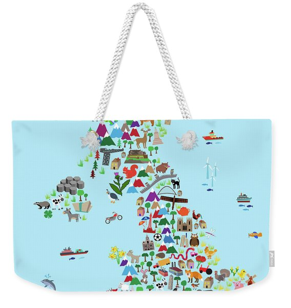 Animal Map Of Great Britain And Ni For Children And Kids Weekender Tote Bag